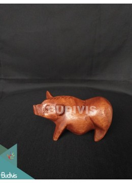Top Model Wood Carved Pig From Bali