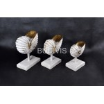 White Painted Sea Shell Wood Carved Home Decoration