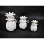 White Pineapple Wood Carved Indor / Outdor Decoration