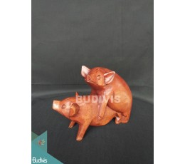 Animal Wood Carved Pig Making Love Manufacture