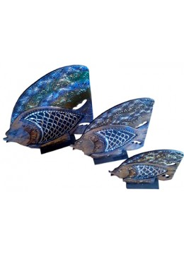 Fish Glass Gold Set Of 3