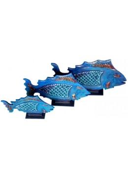 Fish Glass Gold Set Of 3