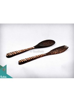 Wooden Set Spoon & Fork Coco Decorative Set 2 Pcs