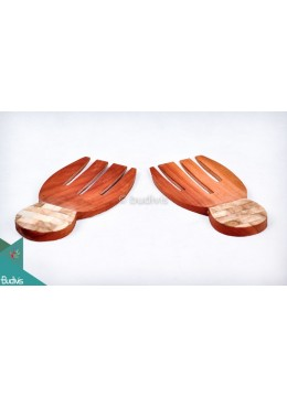 Wooden Rice Spoon With Shell Decorative Set 2 Pcs