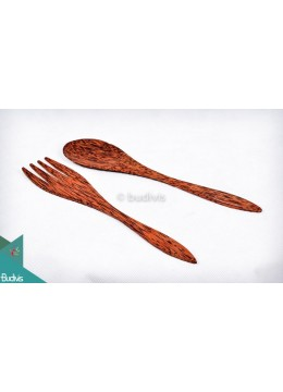 Wooden Set Spoon & Fork Set 2 Pcs
