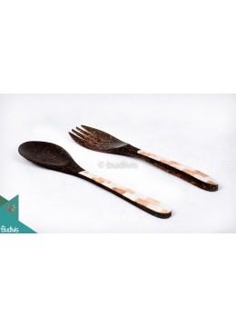 Wooden Set Spoon & Fork Set 2 Pcs Shell Decorative
