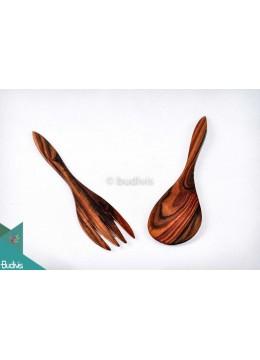 Wooden Set Spoon & Fork Large Set 2 Pcs