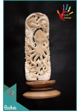 Best Seller Hand Carved Bone Octopus Scenery Ornament Top Model