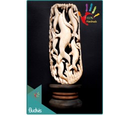 100 % In Handmade Hand Carved Bone Dolpin Scenery Ornament Best Seller