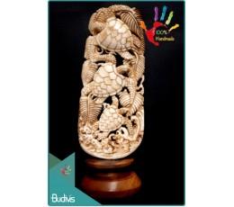 Bali Hand Carved Bone Turtle Scenery Ornament Top Model