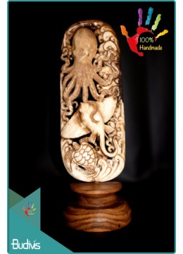 Wholesale Octopus Sting Ray And Turtle Hand Carved Bone Scenery Ornament Bali