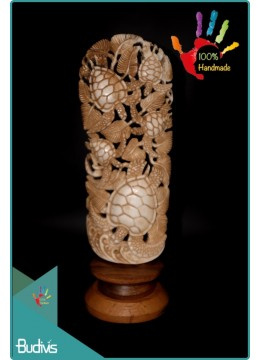 Best Seller Turtle Hand Carved Bone Scenery Ornament Top