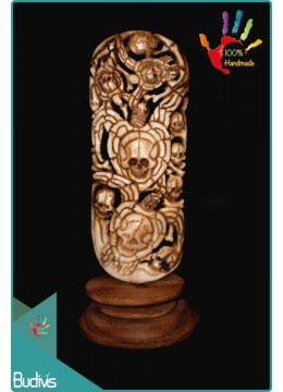 Top Selling Skull And Turtle Hand Carved Bone Scenery Ornament Cheap