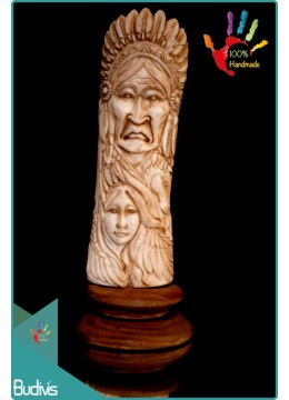 Top Model Indian Hand Carved Bone Scenery Ornament 100 % In Handmade