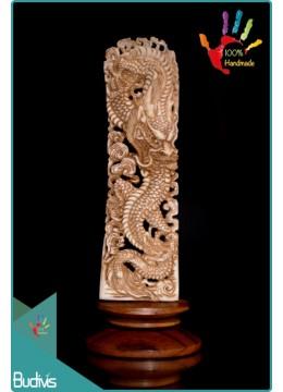 Manufactured Dragon Hand Carved Bone Scenery Ornament Bali