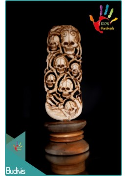 Top Hand Carved Bone Skull Scenery Ornament Cheap