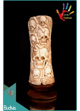 Top Model Hand Carved Bone Skull Scenery Ornament 100 % In Handmade