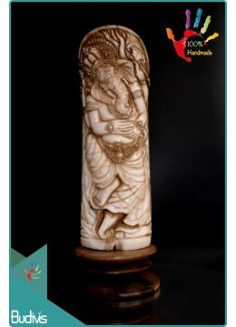 Bali Hand Carved Bone Ganesha Scenery Ornament Top