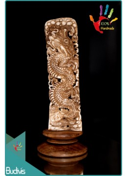 Top Dragon Hand Carved Bone Scenery Ornament Top Model