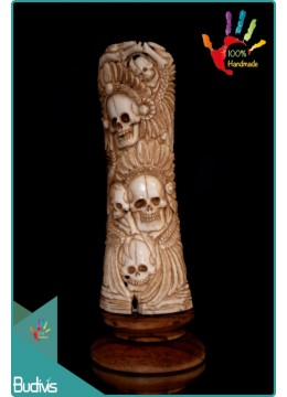 Top Selling Hand Carved Bone Indian Skull Scenery Ornament Top