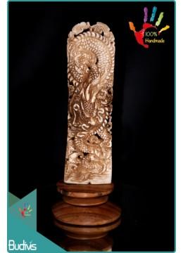 100 % In Handmade Dragon Hand Carved Bone Scenery Ornament Wholesale