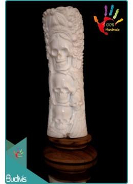 Cheap Hand Carved Bone Skull Scenery Ornament 100 % In Handmade
