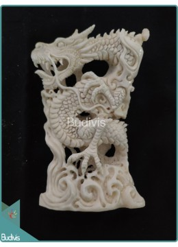 Loong Chinese Dragon Bone Carving Ornament