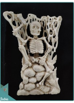 Woodcutter Skeleton Bone Carving Ornament