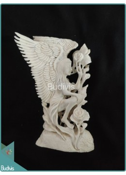 Angel Picking Roses Scenery Bone Carving Ornament