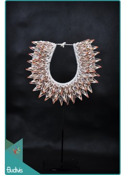 Tribal Necklace Shell Decorative On Stand Interior