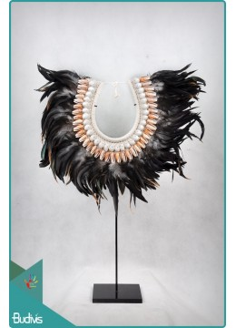 Cheap Tribal Necklace Feather Shell Decorative On Stand Decor Interior