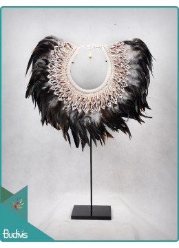 Top Mode Tribal Necklace Feather Shell Decorative On Stand Interior