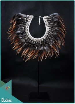 Affordable Tribal Necklace Feather Shell Decorative On Stand Decor Interior