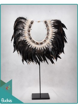 From Bali Tribal Necklace Feather Shell Decorative On Stand Interior