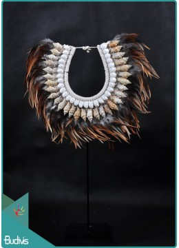 Indonesia Tribal Necklace Feather Shell Decorative On Stand Home Decor Interior