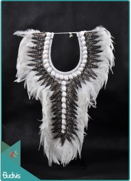 Tribal Necklace Feather Shell Decorative On Stand Home Decor Interior