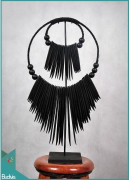 Tribal Black Antique Necklace Bone Decorative On Stand Interior