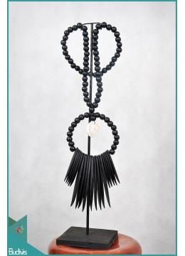 Black Necklaces Tribal Bone With Shell