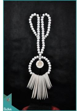 White Necklaces Tribal Bone With Shell