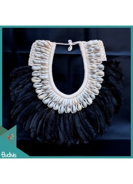 Livingroom Décoration Standing Black Feather Tribal Necklace Shell Decorative Interior