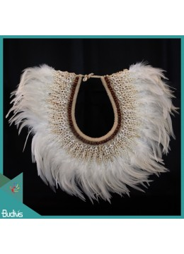 Livingroom Décor Standing Tribal White Feather Necklace Shell Decorative Interior