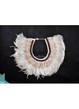 Primitive Shell Decoration White Feather Tribal Necklace Shell Wood Decorative Standing