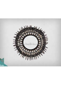 Primitive Shell Decoration Rounded Mirror Shell Beadwork Tribal Necklace Shell Decorative