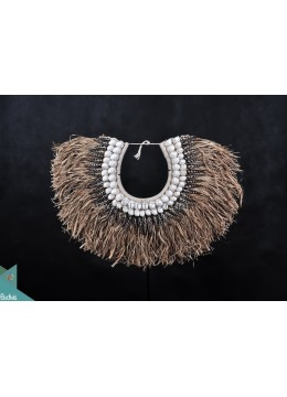 Reed Primitive Shell Decoration Tribal Necklace Black Standing Interior