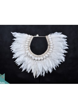 White Feather Primitive Decoration Tribal Necklace Black Standing Interior
