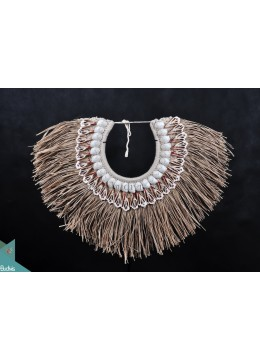 Natural Reed Primitive Shell Decoration Tribal Necklace Standing Interior