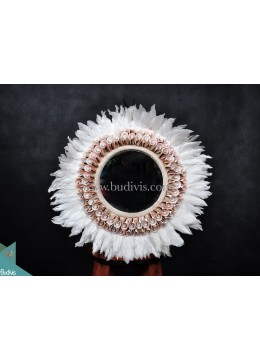 Primitive Mirror White Feather Shell Decoration Tribal Necklace Standing Interior