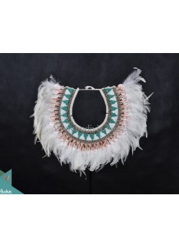 White Feather Primitive Shell Decoration Tribal Necklace Beadwork Standing Interior
