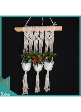 Affordable Triple basket Rope Handwoven Wood Hanging Macrame Pot Planter