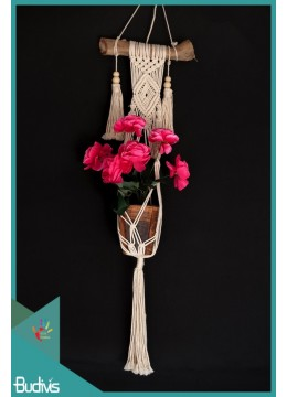 Wholesale Rope Handwoven Hanging Macrame Pot Planter With Drift Wood